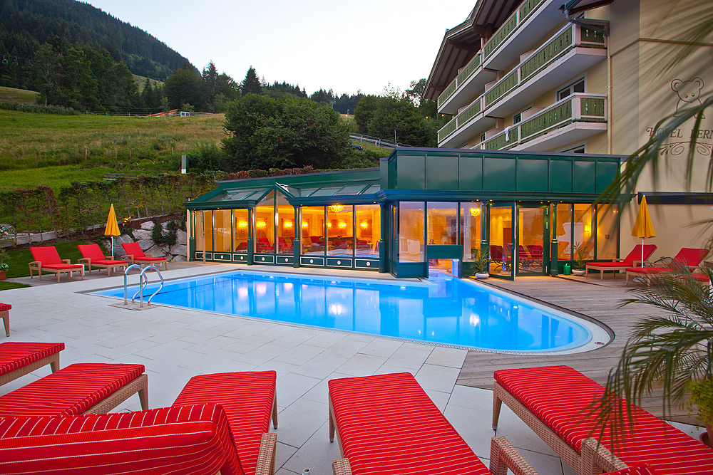 Heated outdoor pool at the hotel in zell am see hotel - Welcoming modern house with panoramic view serving flawless relaxation ...